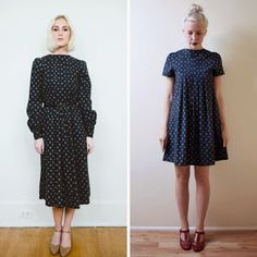 ⠀⠀Ladygirl Vintage: Before and After: Navy Floral Shift Dress