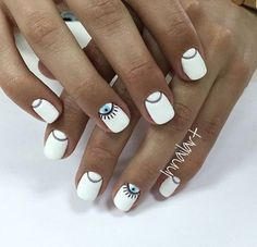 Top Design for Evil Eye Nails 2018 - Reny styles Love Nails, Pretty Nails, Beauty And More, Evil Eye Nails, Nails 2018, White Nail Designs, Manicure E Pedicure, Minimalist Nails, Creative Nails