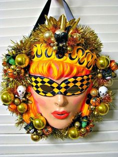 I love Halloween decor! These are some of my favorite Halloween wreaths I pinned recently. See my huge Halloween decor folder on Pint. Halloween Items, Halloween Masks, Holidays Halloween, Vintage Halloween, Halloween Crafts, Halloween Decorations, Halloween Wreaths, Haunted Halloween, Creepy Halloween