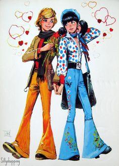 Vintage Big Eyed Couple Postcard