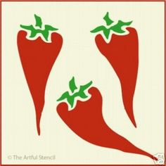 Remodeling your kitchen this year?. Why not stencil bright chili peppers as a border or scattered on the wall. This stencil is perfect for kitchen textiles and as a border or stenciled print for curtains. | eBay!