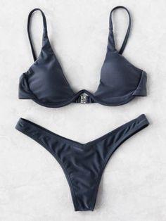 065ccb724fb3f Triangle Sexy Bikini Set -SheIn(Sheinside) Grey Triangle Bikini