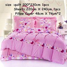 Pastoral style Bedding sets bedding set queen double size sheet+comforter case+pillowcase 4pcs cotton bed Linen sets