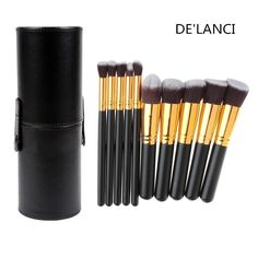 DE'LANCI 10 Pcs Synthetic Makeup Brushes - Makeup Brush Set - Cosmetics Foundation Blending Blush Face Concealer Powder Make Up Brush Tools - Contouring Brush Kits with Black Leather Cup Holder Case *** You can find more details here : Travel Makeup