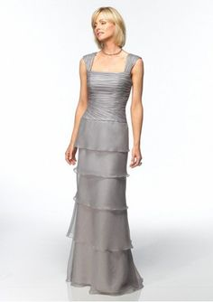 organza rouched bodice with slim a line mother of the bride dress