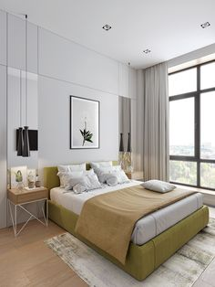 Small minimalist and classy apartment with L-shaped kitchen Small Apartment Bedrooms, Small Apartment Interior, Small Apartment Design, Small Space Design, Small Apartments, Cozy Apartment, Condo Interior Design, Hotel Room Design, Home Interior