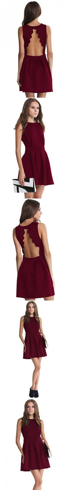 SheIn Women's Sleeveless Backless Scalloped Pleated Party Dress Medium Burgundy