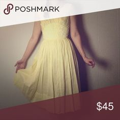 Yellow 50s Dress with White Lace Detail Pretty High-waisted scoop neck Sundress from the 1950s. Traveled a long time to get here and still in great condition! Tranel Dresses
