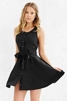 Cooperative Button-Front Tied Waist Dress - Urban Outfitters