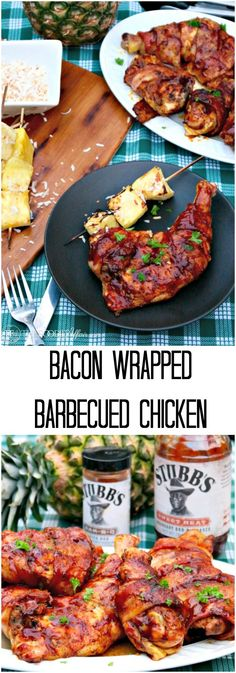Bacon Wrapped Barbecued Chicken generously seasoned with a dry rub and then glazed with barbecue sauce adding a sweet and savory finger licking flavor! The Foodie Affair