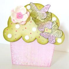 Cupcake Card Spring Garden Butterfly Cake Card Girls Birthday Card