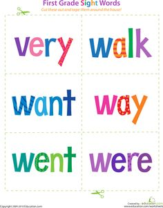 Print and cut out these sight word flashcards to help your beginning reader master some key words at the first grade level. Sight Word Flashcards, Sight Word Worksheets, 1st Grade Worksheets, Sight Word Activities, Reading Activities, Teaching Sight Words, Sight Words List, First Grade Sight Words, Letter N Words