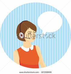 girl operator in headfones on blue background with stripes by EkaterinaP, via ShutterStock