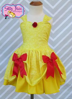 Girls Beauty and the Beast Belle inspired yellow red rose costume birthday party pageant dress by SillyFaceBoutique on Etsy https://www.etsy.com/listing/515853913/girls-beauty-and-the-beast-belle