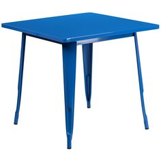 31.5'' Square Blue Metal Indoor Table. Create a chic dining space with this industrial style table. The colorful table will add a retro-modern look to your home or eatery. This highly versatile Cafe Table is ideal for use in bistros, taverns, bars and restaurants. You can mix and match this style table with any metal chair, even using different colors. A thick brace underneath the top adds extra stability. The legs have protective rubber feet that prevent damage to flooring. The...