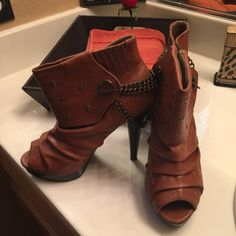 Brown Booties With chains 5 ' heel used.. Pictures show scuff marks Sheik Shoes Ankle Boots & Booties