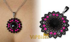 Black Beaded Pendant. 3D Beading Tutorial. How to make, Patterns, Rivoli, Swarovski, FirePolished Beads, Bezel