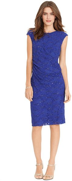 Lauren Ralph Lauren Petite Sequined-Lace Sheath Dress