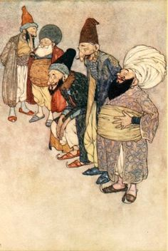 """At so arrogant a claim all the courtiers burst into loud laughter""  Edmund Dulac, 1908  Housman's Stories from the Arabian Nights  Formatting and text by George P. Landow"