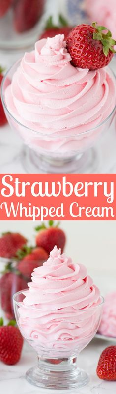 Homemade strawberry whipped cream using only 3 ingredients! Homemade strawberry whipped cream using only 3 ingredients! Strawberry Desserts, Mini Desserts, Easy Desserts, Strawberry Jello, Strawberry Cream Cakes, Baking Desserts, Baking Cupcakes, Sweet Desserts, Best Dessert Recipes