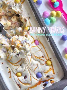 4 Ingredient No Churn Bunny Tracks Ice Cream #SpringMoments #Easter #IceCream (ad)