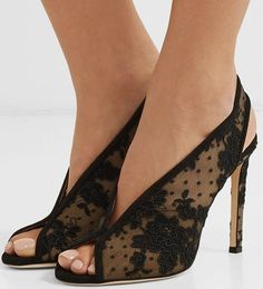 Shar 100 suede-trimmed lace slingback pumps – Your Next Shoes – Join in the world of pin Lace Up Heels, Pumps Heels, Stiletto Heels, High Heels, Vans Converse, Jimmy Choo, Outfit Trends, Fashion Heels, High Fashion