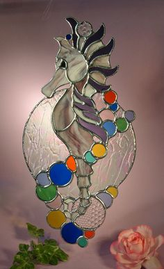 Stained Glass Sea Horse with Colorful Bubbles
