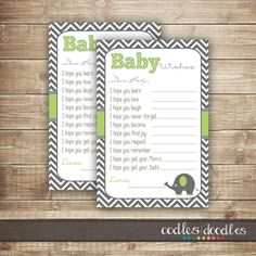 Baby Wishes Fill-in-the-Blank Card  / Chevron & Elephant Baby Shower / Dear Baby Cards / Green and Gray - INSTANT DOWNLOAD - Printable