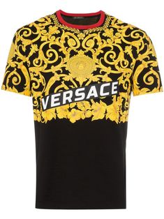 Versace Baroque Speed Logo Contrast-collar T-shirt In Black Versace T Shirt, Versace Versace, Contrast Collar, Italian Fashion, Printed Cotton, Menswear, Mens Fashion, Mens Tops, Baroque