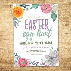 Easter Egg Hunt Invitation Vintage Easter Brunch Egg by westwillow