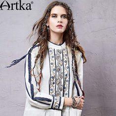 Artka Women's Vintage Embroidery White Blouses Retro Floral Pattern Design Fashion Woman Stand Collar Shirt SA14059C