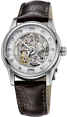 Oris Artelier Skeleton Diamonds 405mm Mens Watch on Brown Strap 73476704019LSBROWN >>> To view further for this item, visit the image link. Note: It's an affiliate link to Amazon #menwatch
