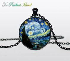 The Starry Night  PENDANT  Van Gogh The Starry by ThePendantIsland, $13.50