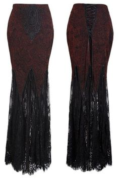 Opium gorgeous gothic skirt by Punk Rave has so many lovely details! It is made from a wine red brocade fabric details with black flocking and black lace motif at the centre front.