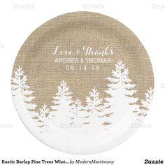 Rustic Burlap Pine Trees Winter Wedding Plates 9 Inch Paper Plate