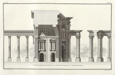 Monumental Arch, reconstruction and cross section Architecture Antique, Art And Architecture, Cross Section, Palmyra, Historical Images, Survival, City, Projects, Painting