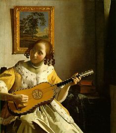 'The Guitar Player' c. 1672; Oil on canvas. Jan Vermeer (1632-1675) was a Dutch painter who specialized in domestic interior scenes of middle class life. Vermeer was a moderately successful provincial genre painter in his lifetime. He seems never to have been particularly wealthy, leaving his wife and children in debt at his death, perhaps because he produced relatively few paintings. Vermeer worked slowly and with great care, using bright colours and sometimes expensive pigments.