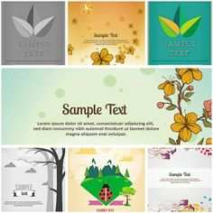 Nature leaves card set vector - Free Download - CGIspread
