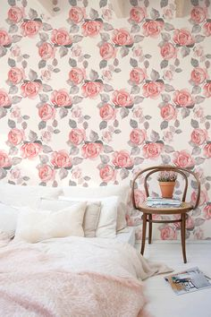 Flower self-adhesive wallpaper Floral removable wallpaper