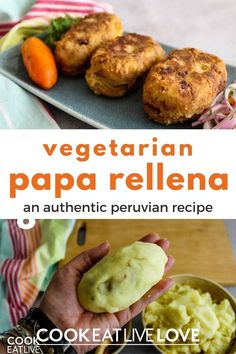 An authentic recipe for peruvian papa rellena. In this vegetarian recipe for peruvian stuffed potatoes, all the traditional flavors are present along with eggplant in place of the beef. See step by step how to mix and shape these delicious stuffed potatoes, one of the most popular recipes from Peru. Learn more about making this vegetarian dish, it's actually much easier than you think! Spicy Vegetarian Recipes, Vegetarian Casserole, Vegetarian Meal Prep, Stuffed Potatoes, Potato Side Dishes, Peruvian Recipes, How To Cook Potatoes, Entree Recipes, Popular Recipes