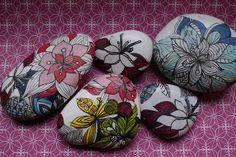 botanicals art painted rocks