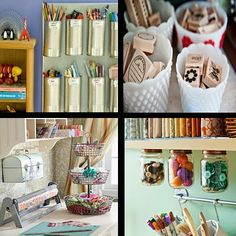 More storage ideas. Love the lids glued to the bottom of the cupboard. It seems, too, you could put heavy magnets on the tin cans.