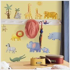 Jungle Adventure Wall Decals by RoomMates- adorable instant diy room decor, can be repositioned, looks like painted on the wall