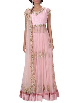 Blush pink long lehenga set with heavy dupatta