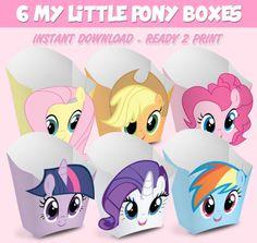 6 Popcorn Box My Little Pony - popcorn box My Little Pony - Instant Download