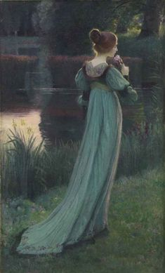 Reminiscing by the pond by Armand Point (1861 – 1932, French)