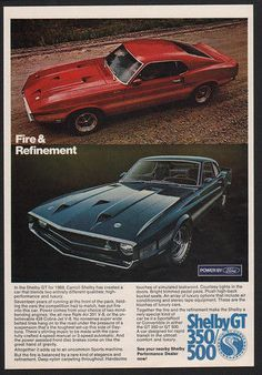 1969 Red & Blue FORD SHELBY COBRA GT 350/500 Cars - Fire & Refinement VINTAGE AD