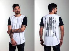 Camiseta ARRISK Back, modelagem long, 100% algodão, estampa em silk. Ref: A005 / R$99,00  /  Vendas WhatsApp: 99633-3563