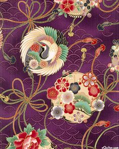 eQuilter Kaffe Fassett's Quilts in the Cotswolds Japanese Textiles, Japanese Fabric, Japanese Art, Chinese Patterns, Japanese Patterns, Korean Art, Asian Art, Traditioneller Kimono, Certificate Design Template