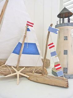 DIY decoration ideas for nautical interior design - summer atmosphere - miniature sailboat driftwood idea design summer deco house - Driftwood Projects, Driftwood Art, Diy Projects, Nautical Interior, Nautical Home, Nautical Craft, Coastal Interior, Nautical Party, Beach Crafts